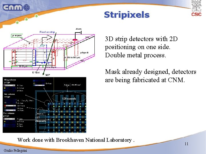 Stripixels 3 D strip detectors with 2 D positioning on one side. Double metal