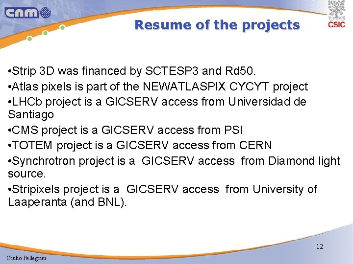 Resume of the projects • Strip 3 D was financed by SCTESP 3 and