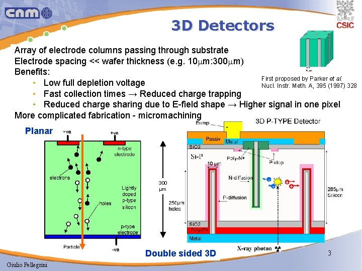 3 D Detectors Array of electrode columns passing through substrate Electrode spacing << wafer