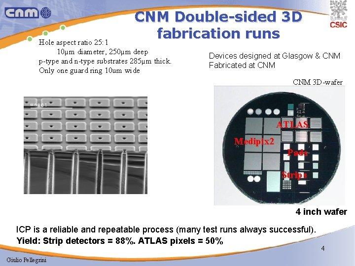 CNM Double-sided 3 D fabrication runs Hole aspect ratio 25: 1 10µm diameter, 250µm