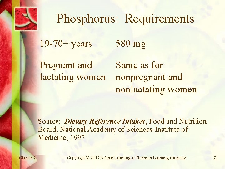 Phosphorus: Requirements 19 -70+ years 580 mg Pregnant and Same as for lactating women