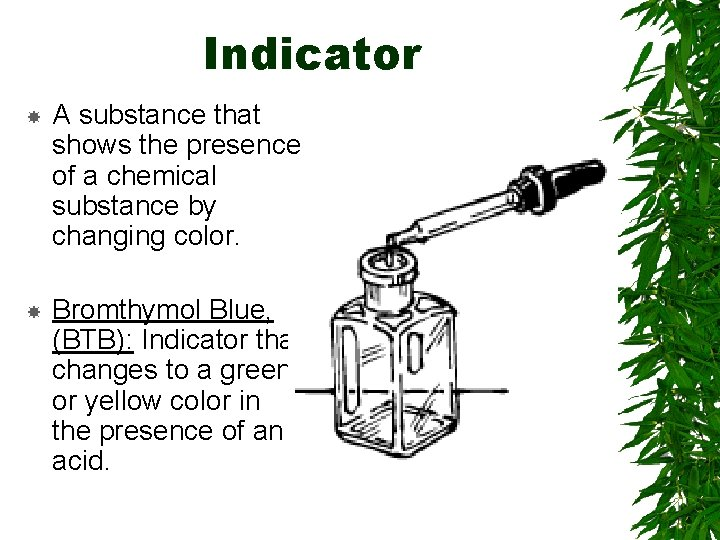 Indicator A substance that shows the presence of a chemical substance by changing color.