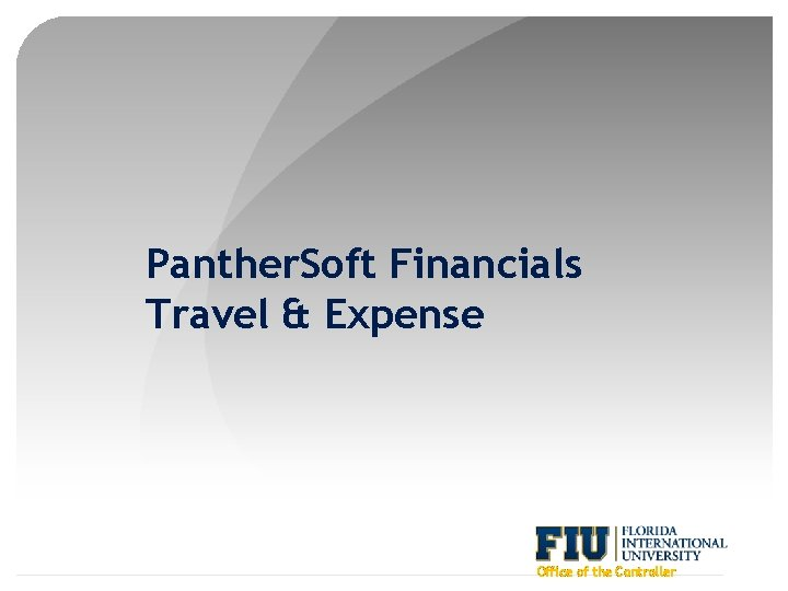 Panther. Soft Financials Travel & Expense Office of the Controller