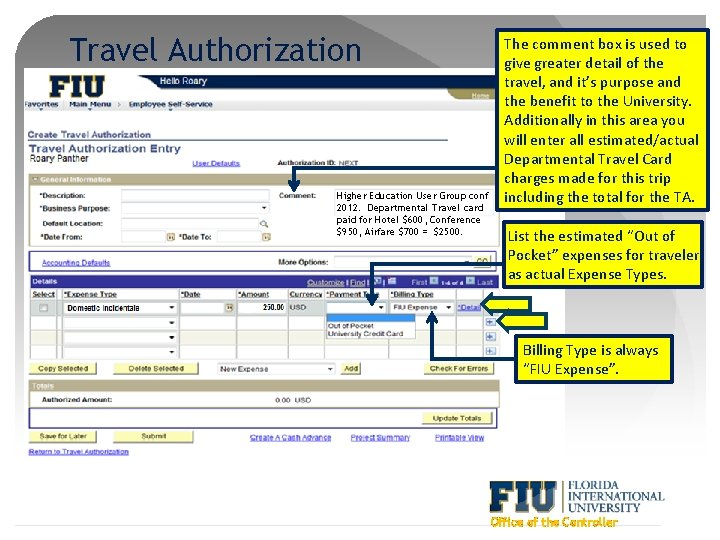Travel Authorization Higher Education User Group conf 2012. Departmental Travel card paid for Hotel