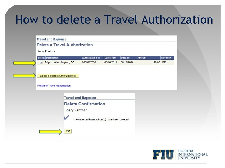 How to delete a Travel Authorization