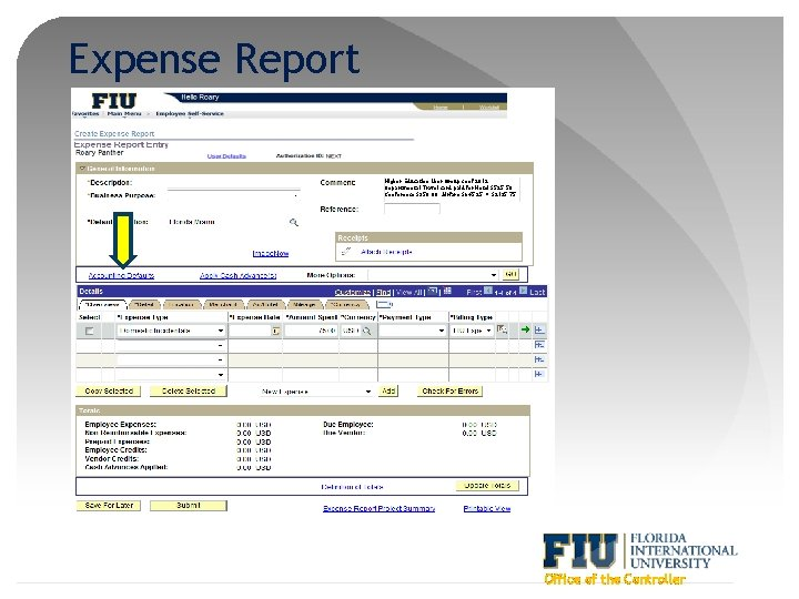Expense Report Higher Education User Group conf 2012. Departmental Travel card paid for Hotel