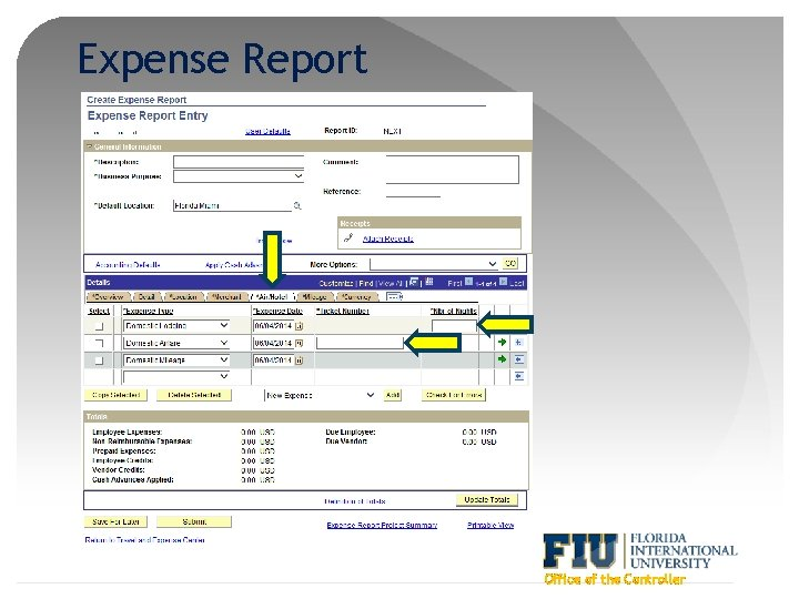 Expense Report Office of the Controller