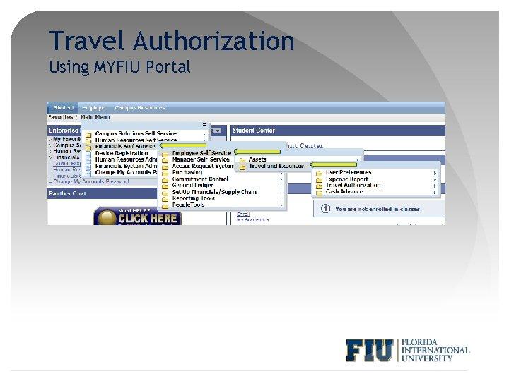 Travel Authorization Using MYFIU Portal