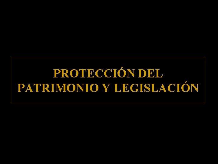 PROTECCIÓN DEL PATRIMONIO Y LEGISLACIÓN