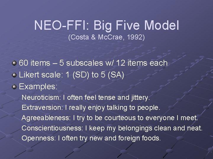 Big model five in extraversion Big Five