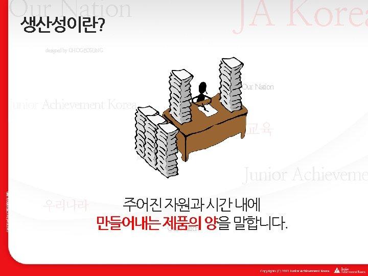 JA Korea Our Nation 생산성이란? designed by CHOGEOSUNG Our Nation Junior Achievement Korea 경제교육