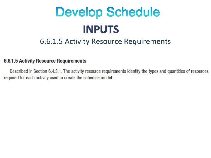 INPUTS 6. 6. 1. 5 Activity Resource Requirements