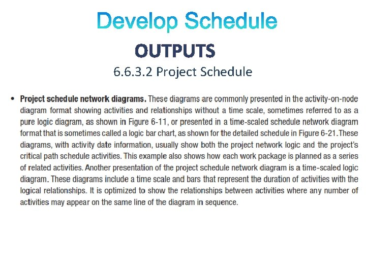 OUTPUTS 6. 6. 3. 2 Project Schedule