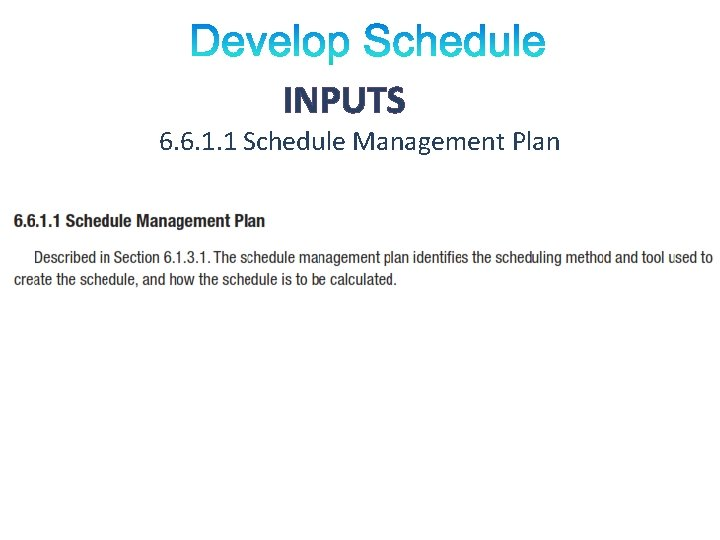 INPUTS 6. 6. 1. 1 Schedule Management Plan