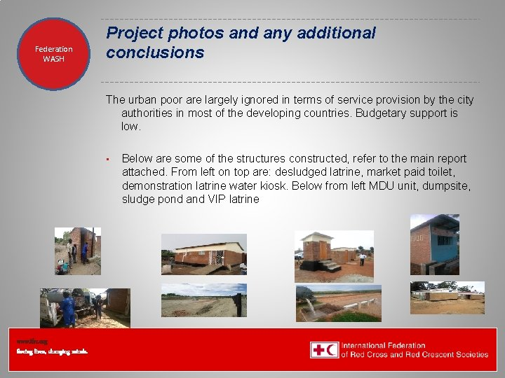 Federation Health WASH Wat. San/EH Project photos and any additional conclusions The urban poor