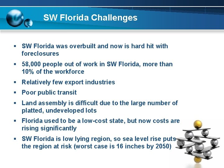 SW Florida Challenges § SW Florida was overbuilt and now is hard hit with