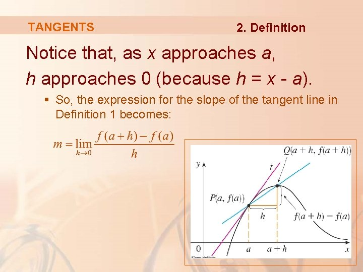 TANGENTS 2. Definition Notice that, as x approaches a, h approaches 0 (because h