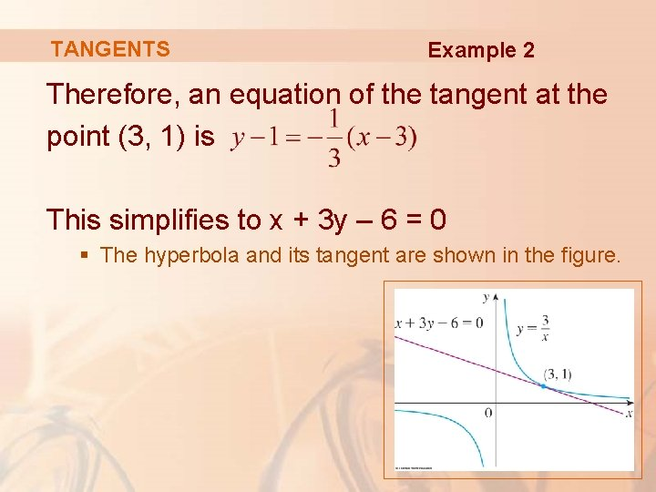 TANGENTS Example 2 Therefore, an equation of the tangent at the point (3, 1)