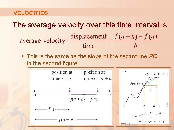 VELOCITIES The average velocity over this time interval is § This is the same