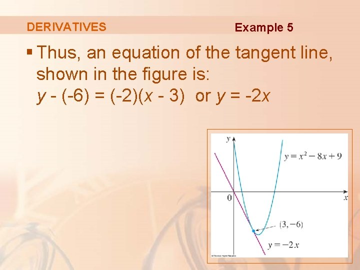 DERIVATIVES Example 5 § Thus, an equation of the tangent line, shown in the