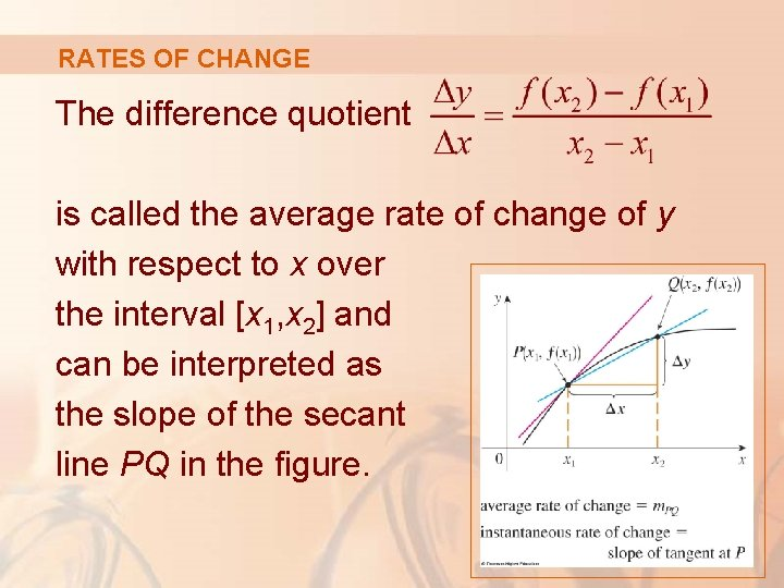 RATES OF CHANGE The difference quotient is called the average rate of change of
