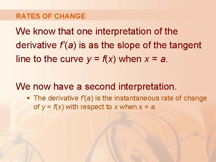 RATES OF CHANGE We know that one interpretation of the derivative f'(a) is as