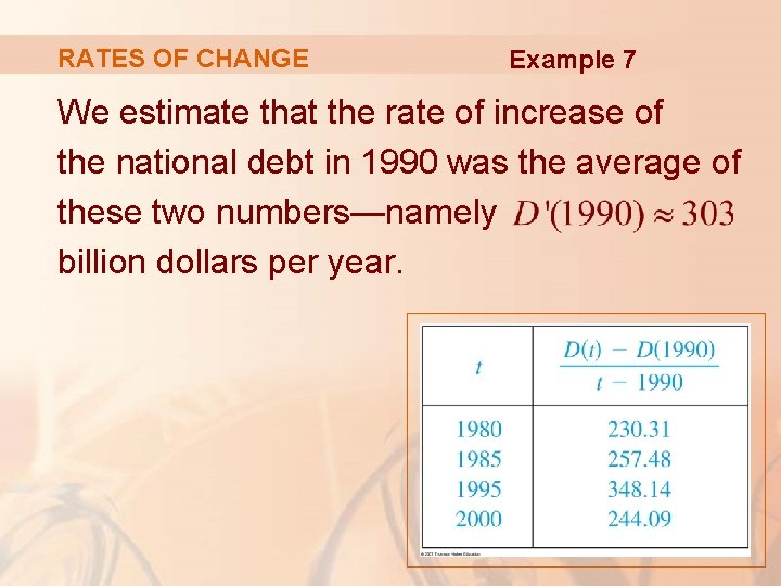 RATES OF CHANGE Example 7 We estimate that the rate of increase of the
