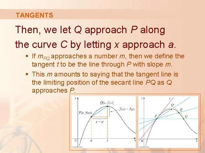 TANGENTS Then, we let Q approach P along the curve C by letting x