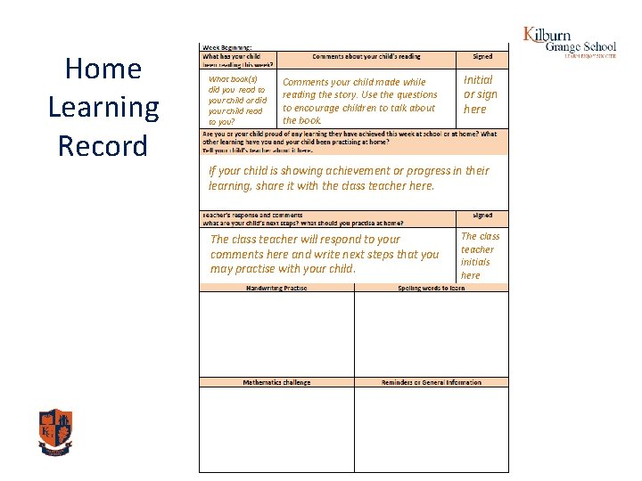 Home Learning Record What book(s) did you read to your child or did your