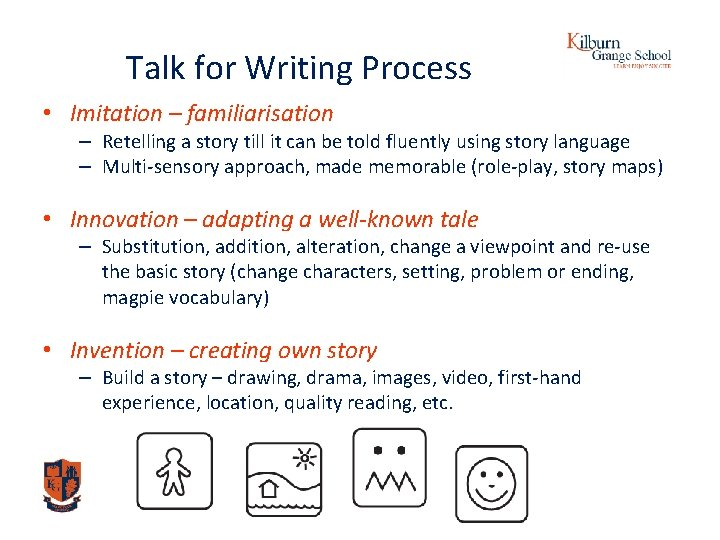 Talk for Writing Process • Imitation – familiarisation – Retelling a story till it