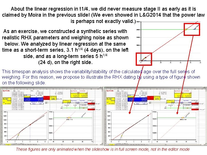 About the linear regression in t 1/4, we did never measure stage II as