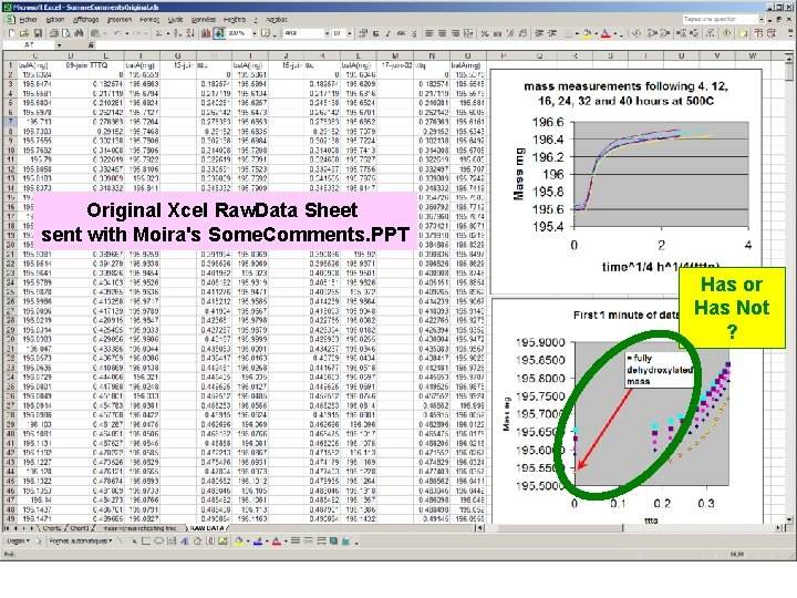 Original Xcel Raw. Data Sheet sent with Moira's Some. Comments. PPT Has or Has