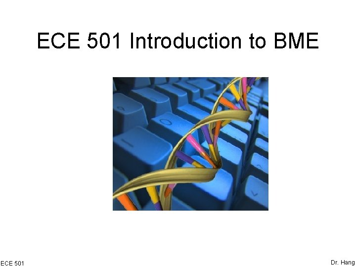 ECE 501 Introduction to BME ECE 501 Dr. Hang