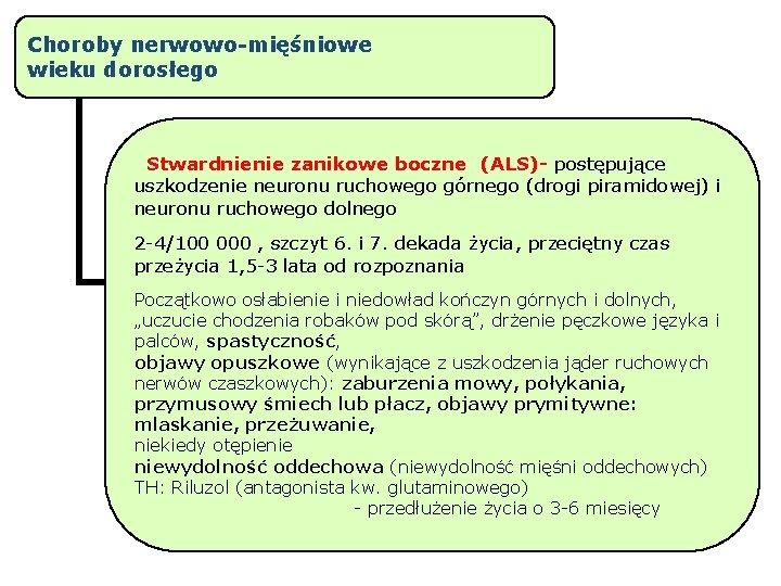 Choroby nerwowo-mięśniowe wieku dorosłego Stwardnienie zanikowe boczne (ALS)- postępujące uszkodzenie neuronu ruchowego górnego (drogi