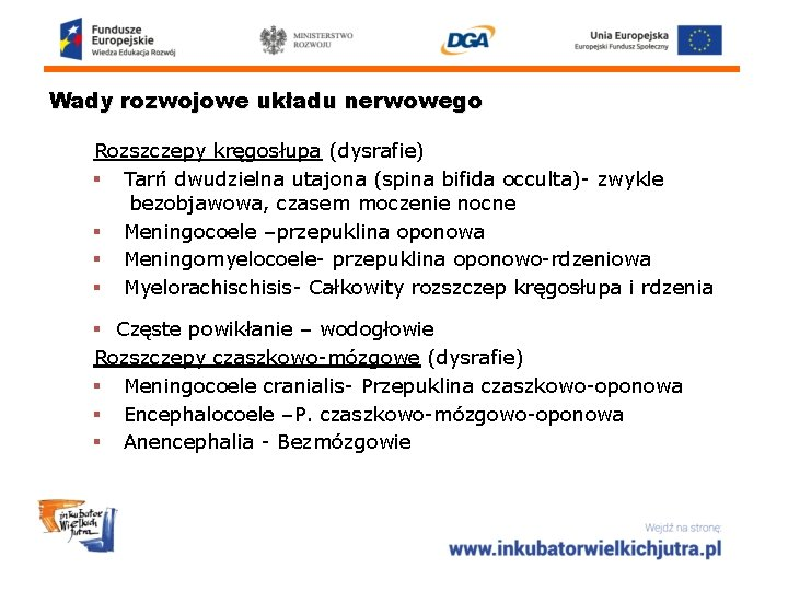 Wady rozwojowe układu nerwowego Rozszczepy kręgosłupa (dysrafie) § Tarń dwudzielna utajona (spina bifida occulta)-