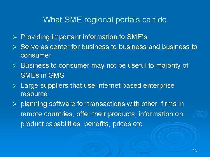 What SME regional portals can do Ø Ø Ø Providing important information to SME's