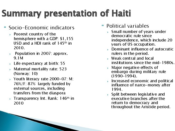Summary presentation of Haiti Socio-Economic indicators Ø Ø Ø Poorest country of the hemisphere