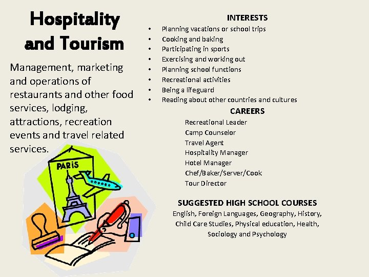 Hospitality and Tourism Management, marketing and operations of restaurants and other food services, lodging,