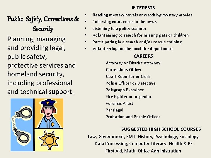 INTERESTS Public Safety, Corrections & Security Planning, managing and providing legal, public safety, protective