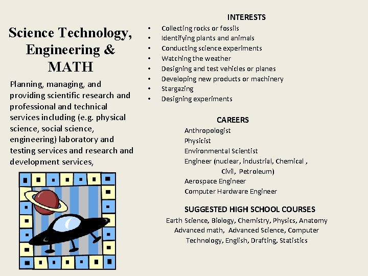 INTERESTS Science Technology, Engineering & MATH Planning, managing, and providing scientific research and professional