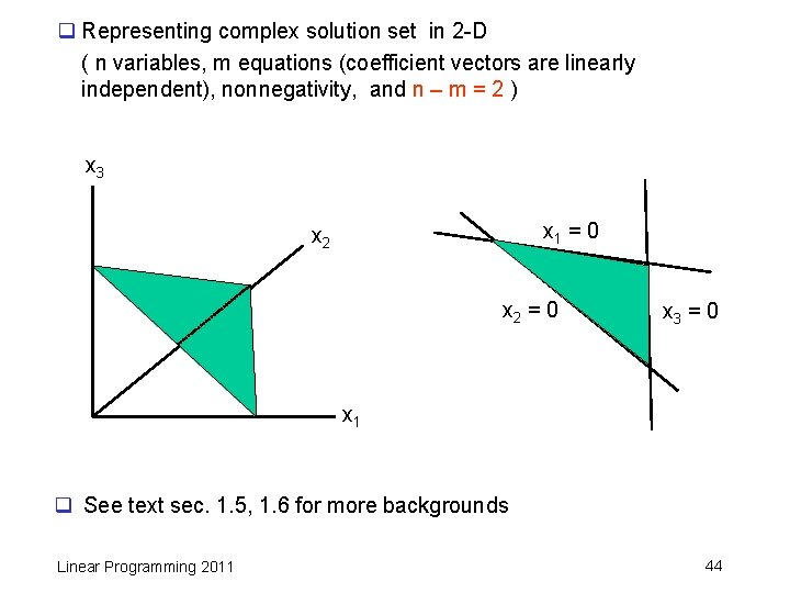 q Representing complex solution set in 2 -D ( n variables, m equations (coefficient