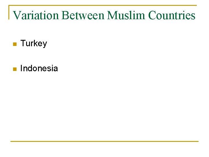 Variation Between Muslim Countries n Turkey n Indonesia