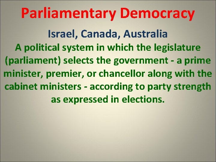 Parliamentary Democracy Israel, Canada, Australia A political system in which the legislature (parliament) selects