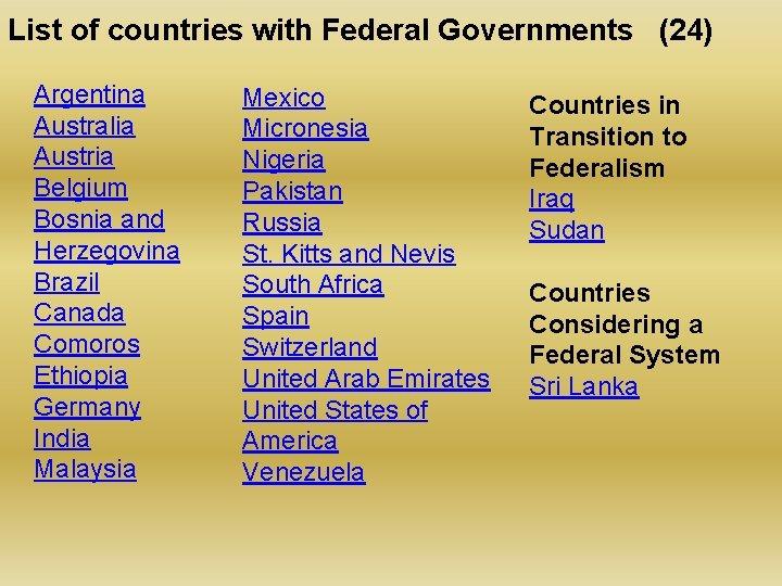List of countries with Federal Governments (24) Argentina Australia Austria Belgium Bosnia and Herzegovina