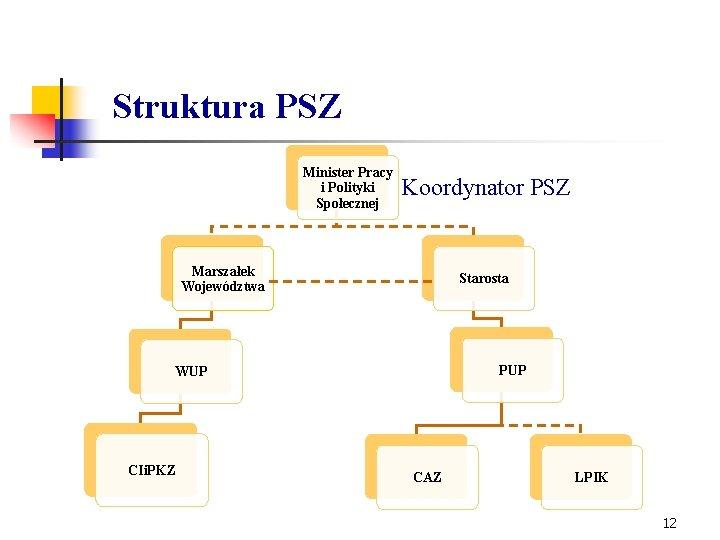 Struktura PSZ Minister Pracy i Polityki Społecznej Koordynator PSZ Marszałek Województwa Starosta PUP WUP