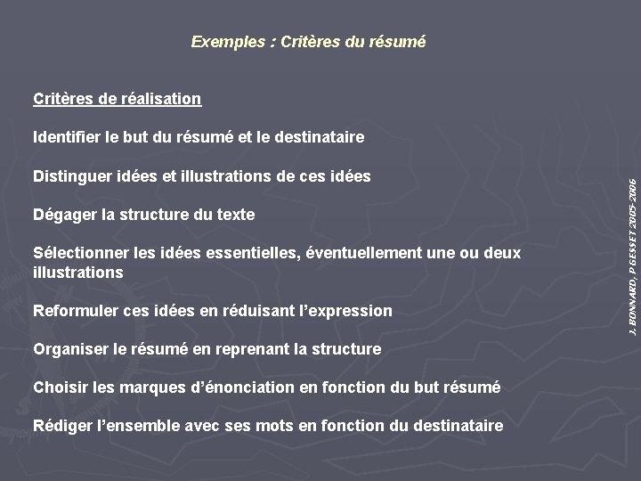 Exemples : Critères du résumé Critères de réalisation Distinguer idées et illustrations de ces
