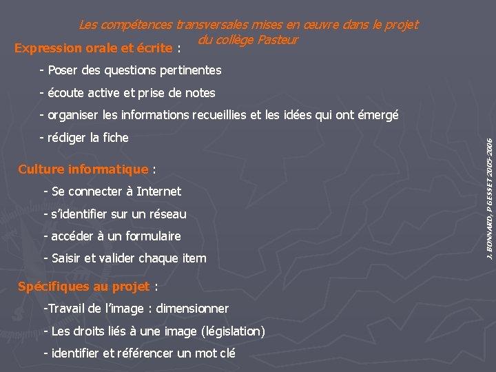 Les compétences transversales mises en œuvre dans le projet du collège Pasteur Expression orale