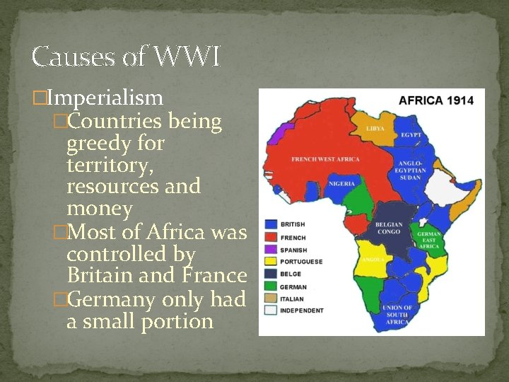 Causes of WWI �Imperialism �Countries being greedy for territory, resources and money �Most of