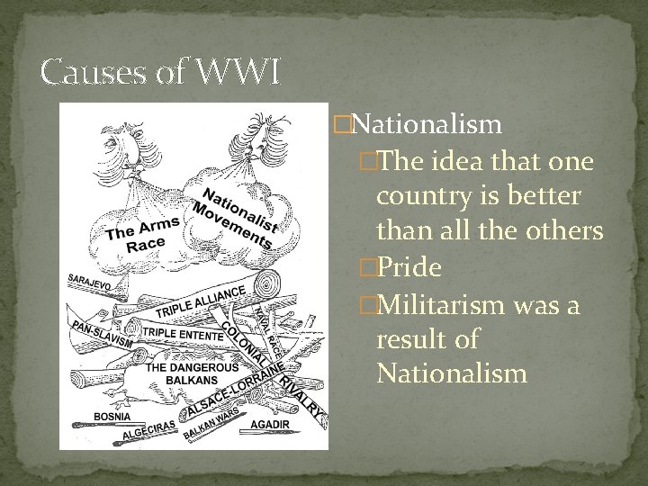 Causes of WWI �Nationalism �The idea that one country is better than all the