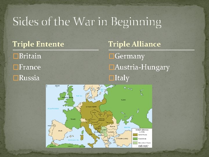 Sides of the War in Beginning Triple Entente Triple Alliance �Britain �Germany �France �Austria-Hungary